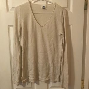 Cream Old Navy Lightweight Vneck Sweater